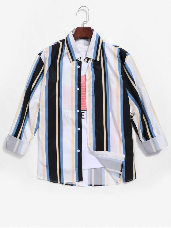 trendy Colorful Striped Printed Long Sleeves Shirt - MULTI-A L