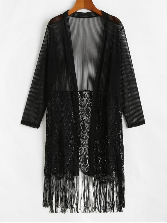outfit See Through Fringed Lace and Mesh Top - BLACK ONE SIZE