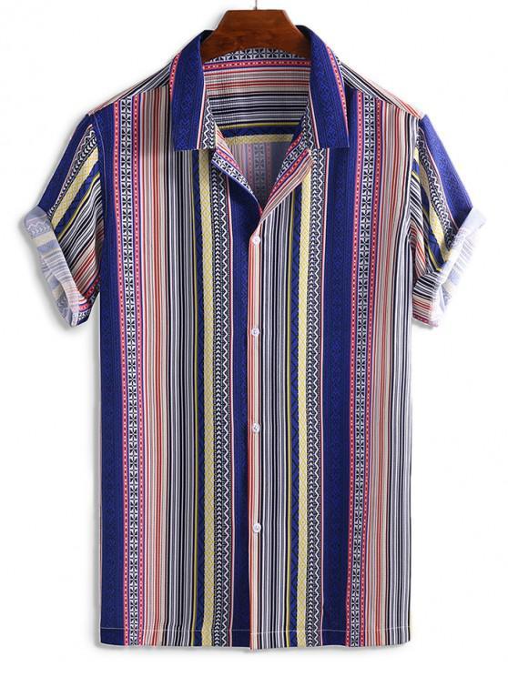 Camisa Rayada con Estampado Gráfico - Multicolor 2XL