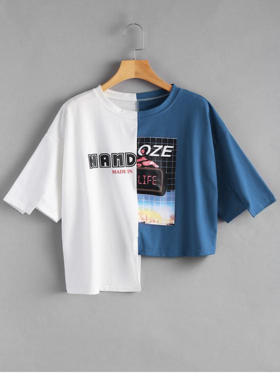 hot Letter Graphic Contrast Asymmetric Tee - BLUE ONE SIZE