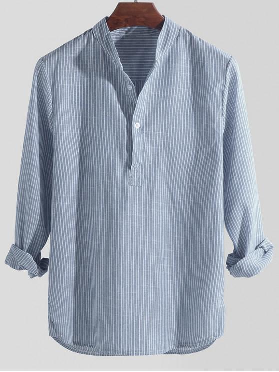 lady Striped Print Half Button Long Sleeve Shirt - SKY BLUE 4XL