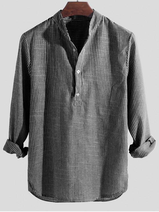 unique Striped Print Half Button Long Sleeve Shirt - GRAY 2XL