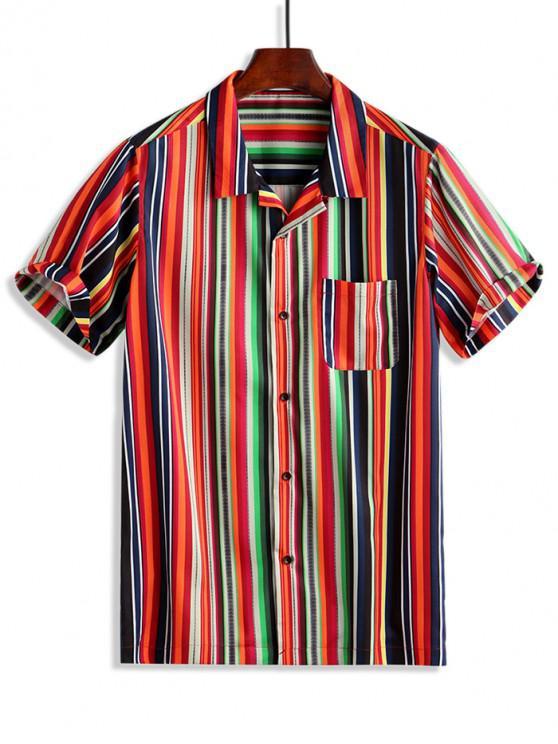 Strisce colorate stampa sul petto tasca bottone della camicia - Rosso Rubino 2XL
