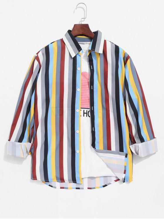 Цветной полосатый принт Пуговицы Рубашка - Многоцветный-A 2XL