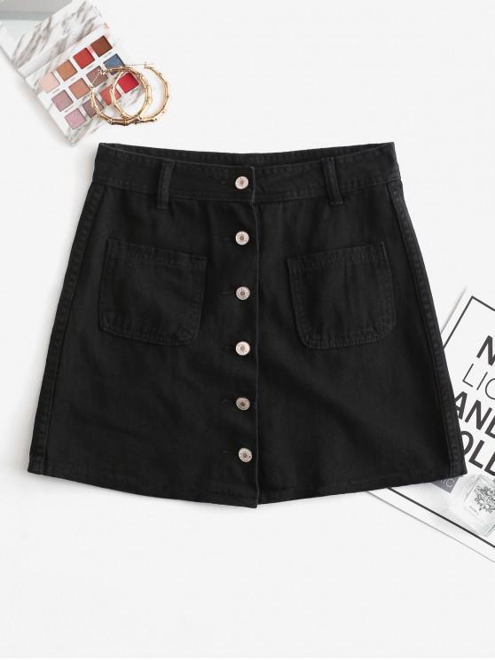 Tasche frontali Button Up Denim Minigonna - Nero M