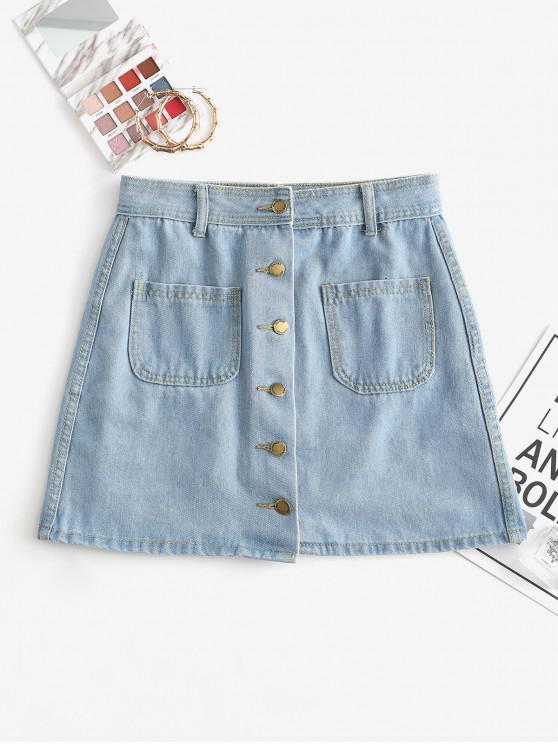 unique Front Pockets Button Up Denim Mini Skirt - BLUE L