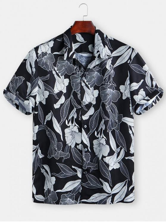 Floreale Foglia Stampa Button Shirt manica corta - Nero 2XL