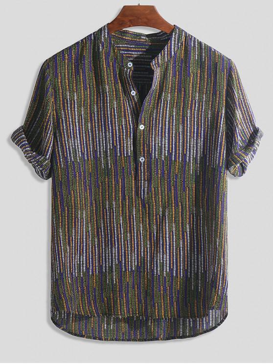 online Half Button Striped Print High Low Shirt - MULTI-A 2XL
