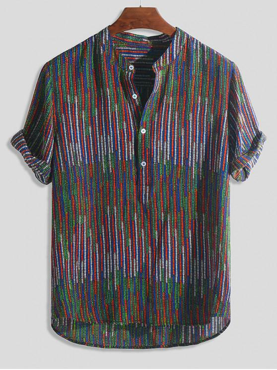 outfits Half Button Striped Print High Low Shirt - MULTI-B 2XL