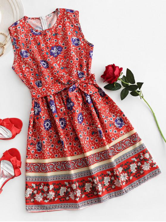 new Floral Print Belted Sleeveless Dress - RED XL