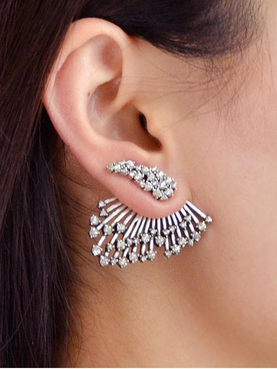 1PC Rhinestone de la pluma de la chaqueta del oído - Plata