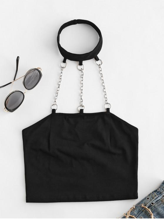 buy Chains Cutout Crop Choker Top - BLACK L
