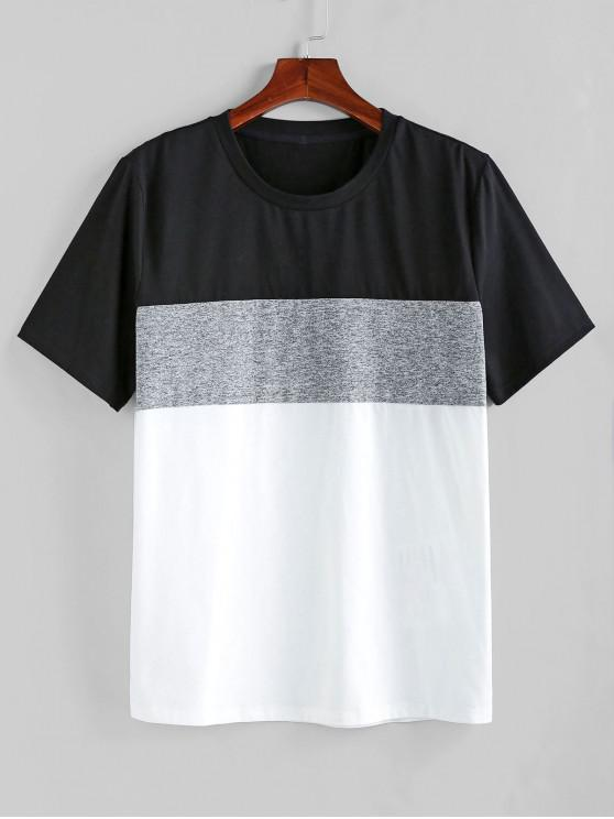 hot ZAFUL Color Spliced Short Sleeves T-shirt - MULTI-A M