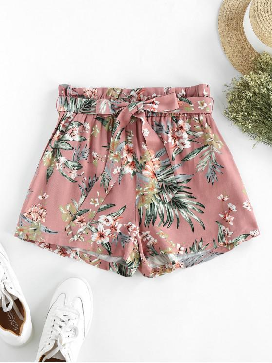 buy ZAFUL Flower Paperbag Waist Wide Leg Shorts - MULTI-B M