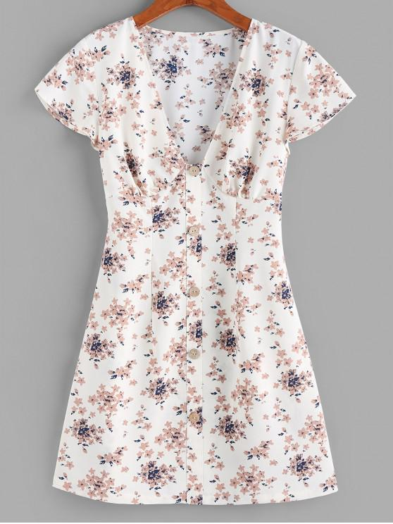 women's ZAFUL Flower Plunging Button Embellished Mini Dress - WHITE XL