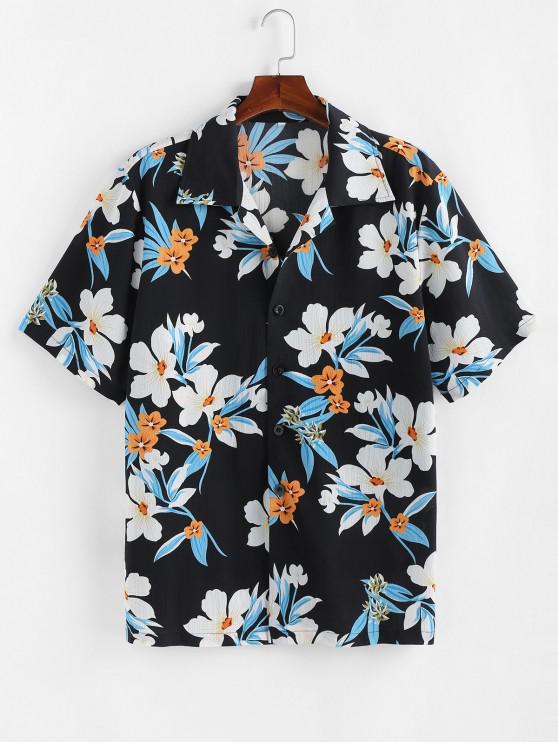 ZAFUL Camisa de Vacaciones con Estampado de Flores con Botones - Negro M