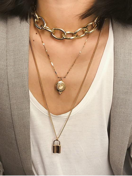 hot Punk Key Lock Pendant Multilayered Chain Necklace - GOLD