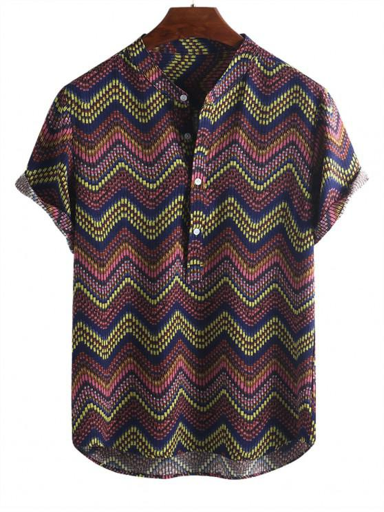 chic Wave Graphic Print Half Button Short Sleeve Shirt - MULTI-B M
