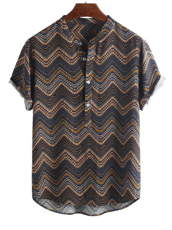 affordable Wave Graphic Print Half Button Short Sleeve Shirt - MULTI-A L