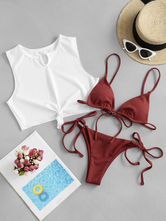 new ZAFUL Ribbed Knot Tie Three Piece Micro Bikini Swimsuit - CHESTNUT RED M