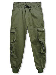 Pantalon De Jogging En Couleur Unie Avec Multi-Poche à Cordon - Vert Armée  2xl