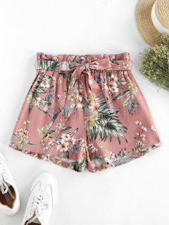 ZAFUL Flower Paperbag Waist Wide Leg Shorts - Multi-b S