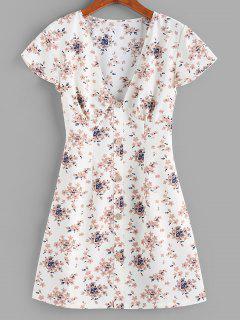 ZAFUL Flower Plunging Button Embellished Mini Dress - White S