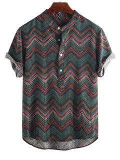 Wave Graphic Print Half Button Short Sleeve Shirt - Multi-c L