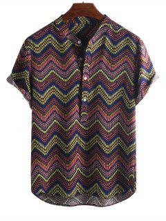 Wave Graphic Print Half Button Short Sleeve Shirt - Multi-b M