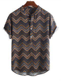 Wave Graphic Print Half Button Short Sleeve Shirt - Multi-a M