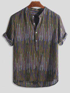 Half Button Striped Print High Low Shirt - Multi-a M