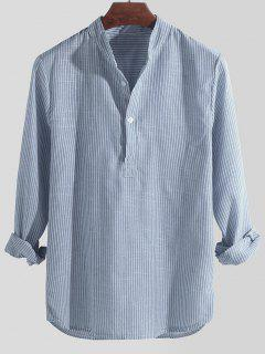 Striped Print Half Button Kurta Long Sleeve Shirt - Sky Blue M