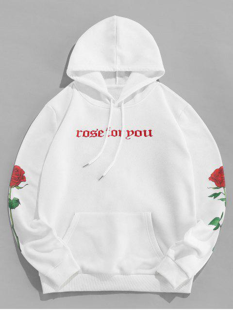 online ZAFUL Floral Print Letter Embroidered Pocket Hoodie - WHITE S Mobile