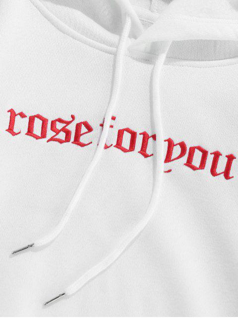 new ZAFUL Floral Print Letter Embroidered Pocket Hoodie - WHITE M Mobile