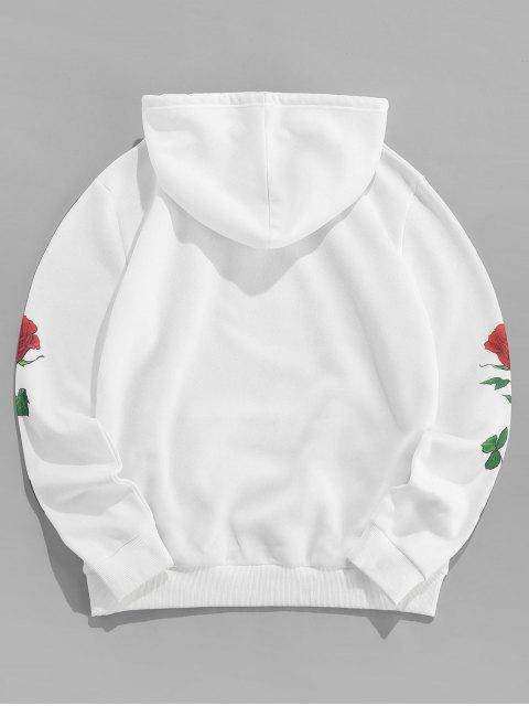 hot ZAFUL Floral Print Letter Embroidered Pocket Hoodie - WHITE L Mobile
