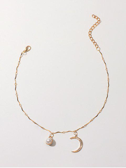 Искусственный жемчуг Горный хрусталь Полумесяц С подвеской Ожерелье - Золотой  Mobile