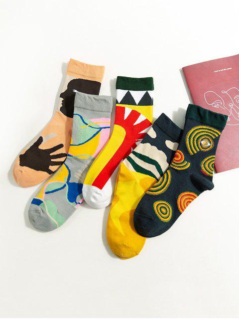 5 пара Абстрактный принт мультфильма Носки в сборе - Многоцветный-A  Mobile