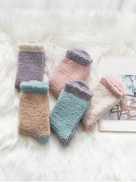 5 пара Цветной блок Шерсть Носки Комплект - Многоцветный-A  Mobile