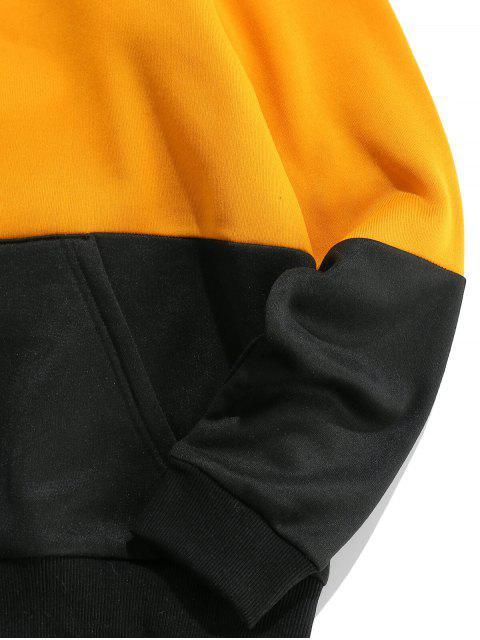 ZAFUL Colorblock字母印花口袋連帽衫 - 金黃色 M Mobile