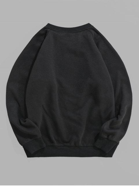ZAFUL休閒字母圖形圖案套頭衫 - 黑色 S Mobile