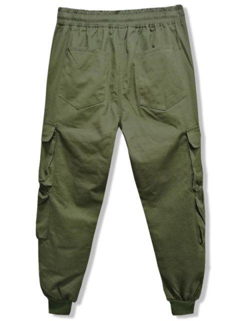 Pantalon de Jogging en Couleur Unie avec Multi-Poche à Cordon - Vert Armée  2XL Mobile