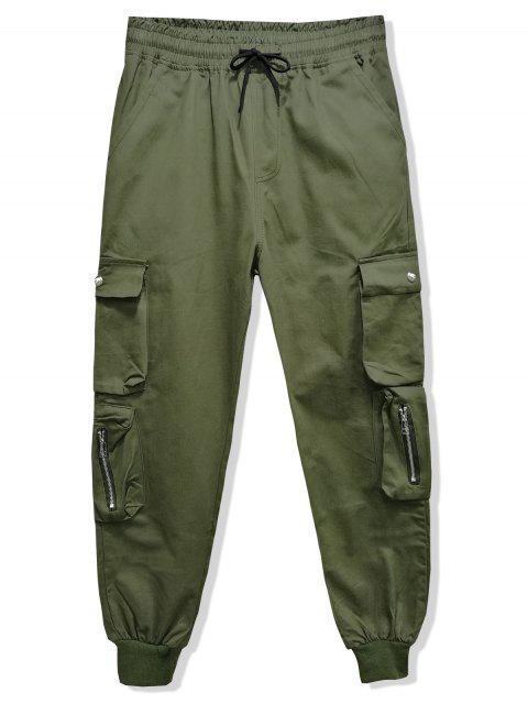 純色多口袋抽繩短褲慢跑者 - 軍綠色 3XL Mobile