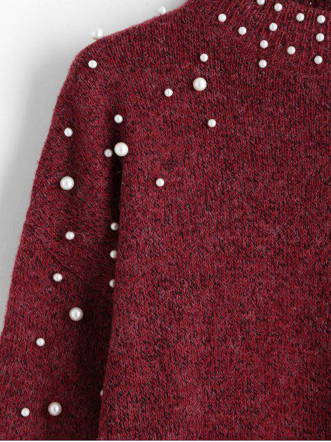 chic Mock Neck Faux Pearls Lantern Sleeve Jumper Sweater - RED L Mobile