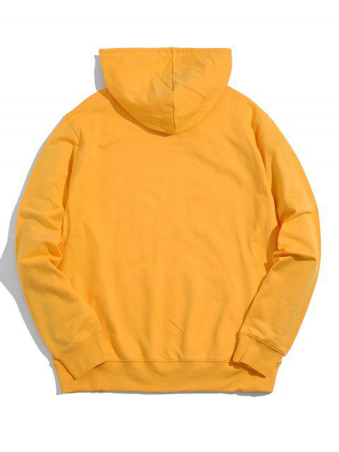 buy Hands Graphic Kangaroo Pocket Cotton Pullover Hoodie - YELLOW S Mobile