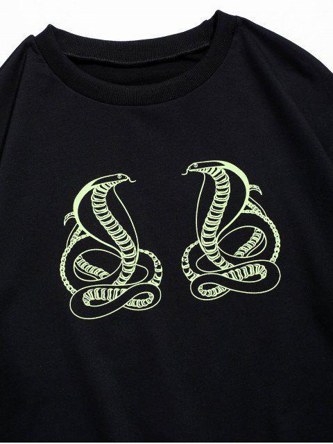 蛇豹紋圓領運動衫 - 黑色 XL Mobile