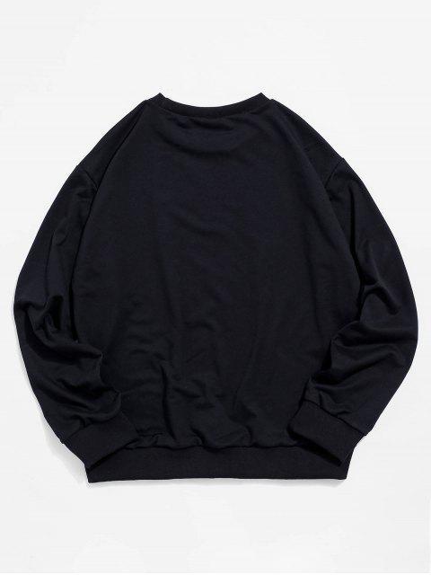 蛇豹紋圓領運動衫 - 黑色 2XL Mobile