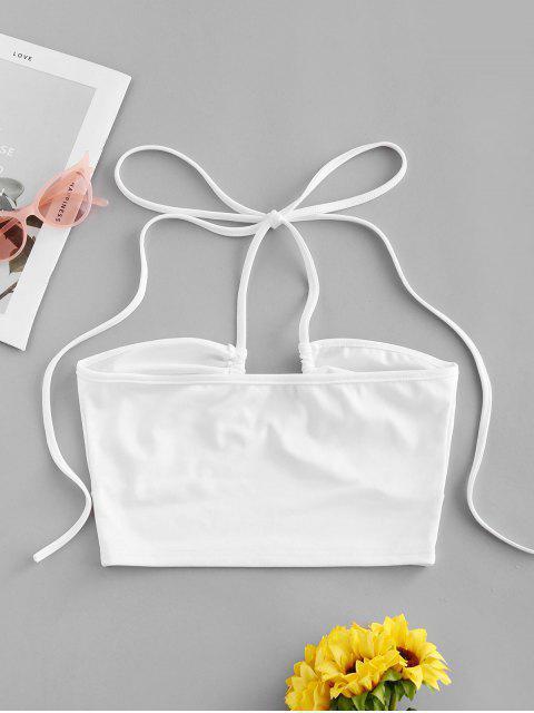 affordable Halter Solid Plain Crop Top - WHITE M Mobile
