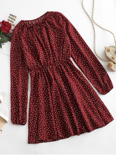 unique Polka Dot Tied A Line Dress - RED WINE M Mobile