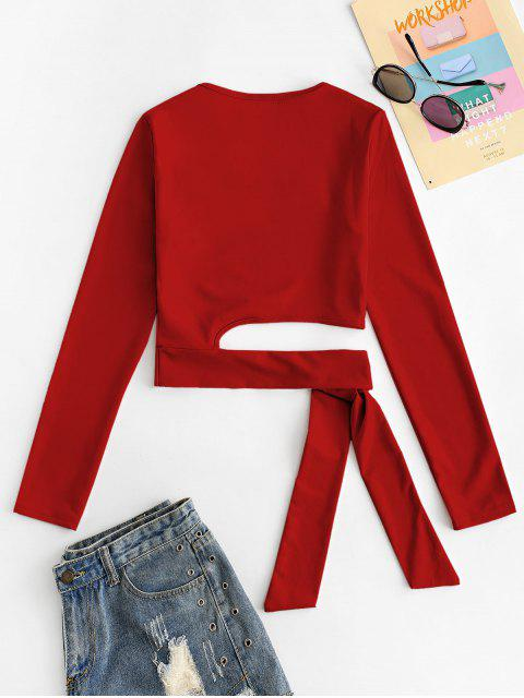 shop U Neck Tie Hem Crop T-shirt - RED M Mobile