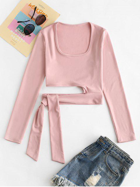 latest U Neck Tie Hem Crop T-shirt - SAKURA PINK L Mobile